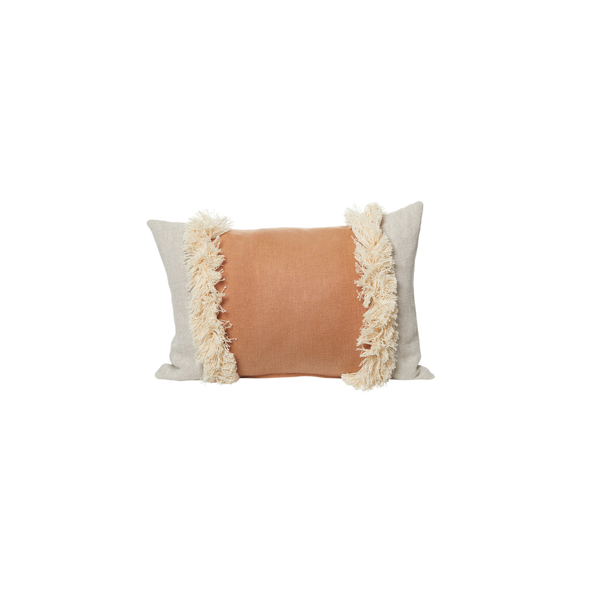 Muse Linen Lumbar Fringe Pillow Sunstone 14 x 20 - Front