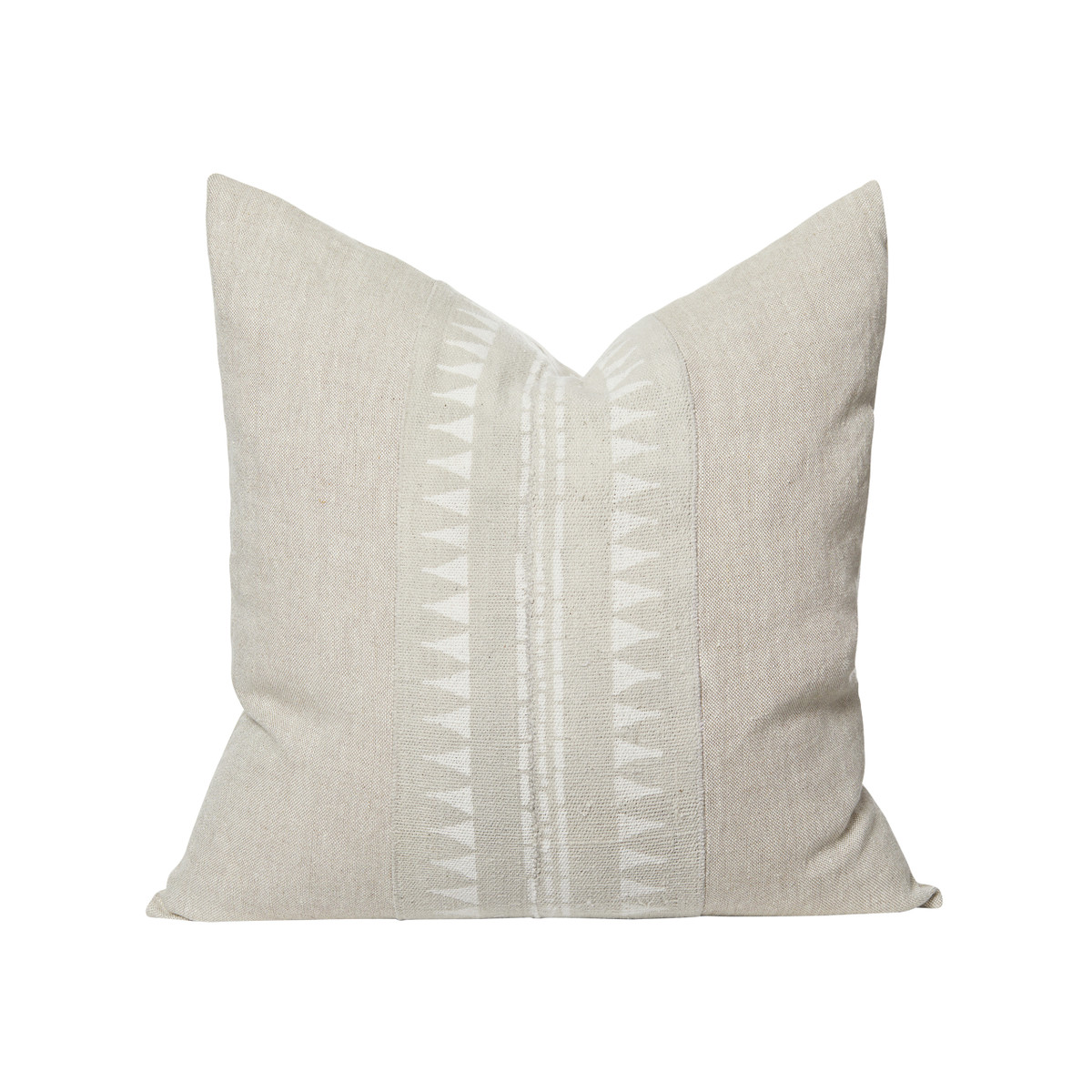 Jaxon Natural Linen and Ivory Mud Cloth Pillow - Front