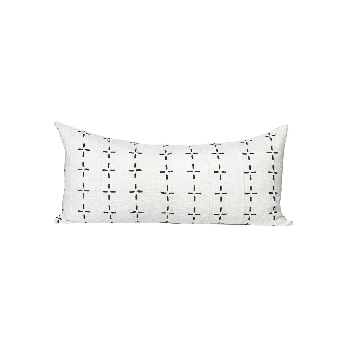 Flint White and Black Mud Cloth Lumbar Pillow - Front