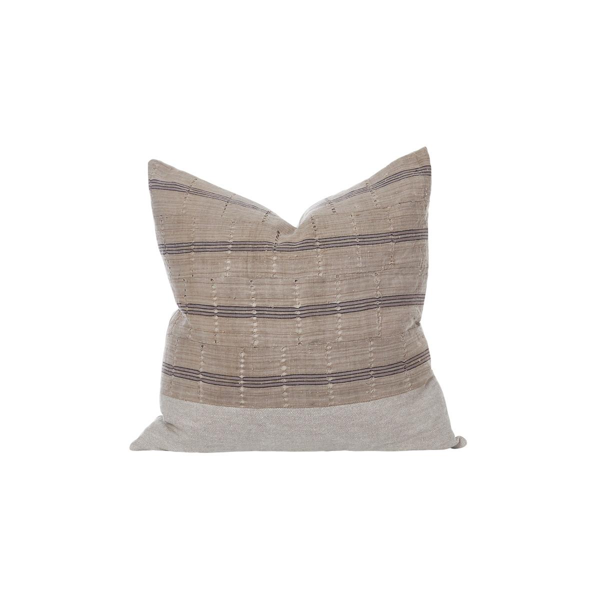 Bristol Aso Oke Eco Linen Taupe Stripe Pillow - Front
