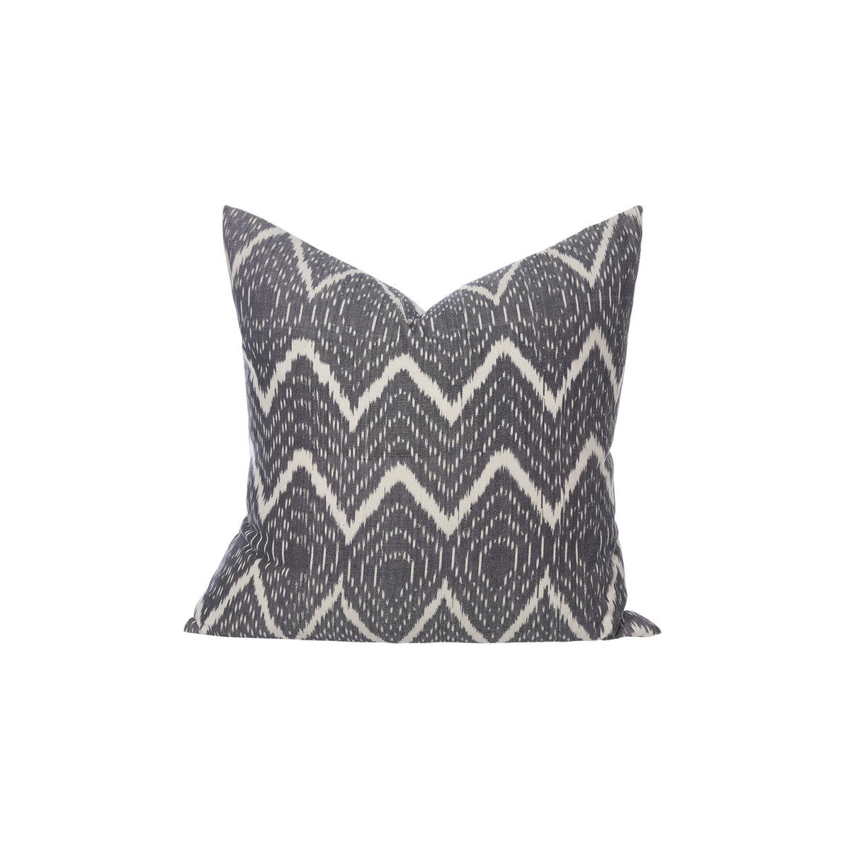 Raj - Hand Loomed Ikat Pewter Gray and ivory decorative pillow - Front