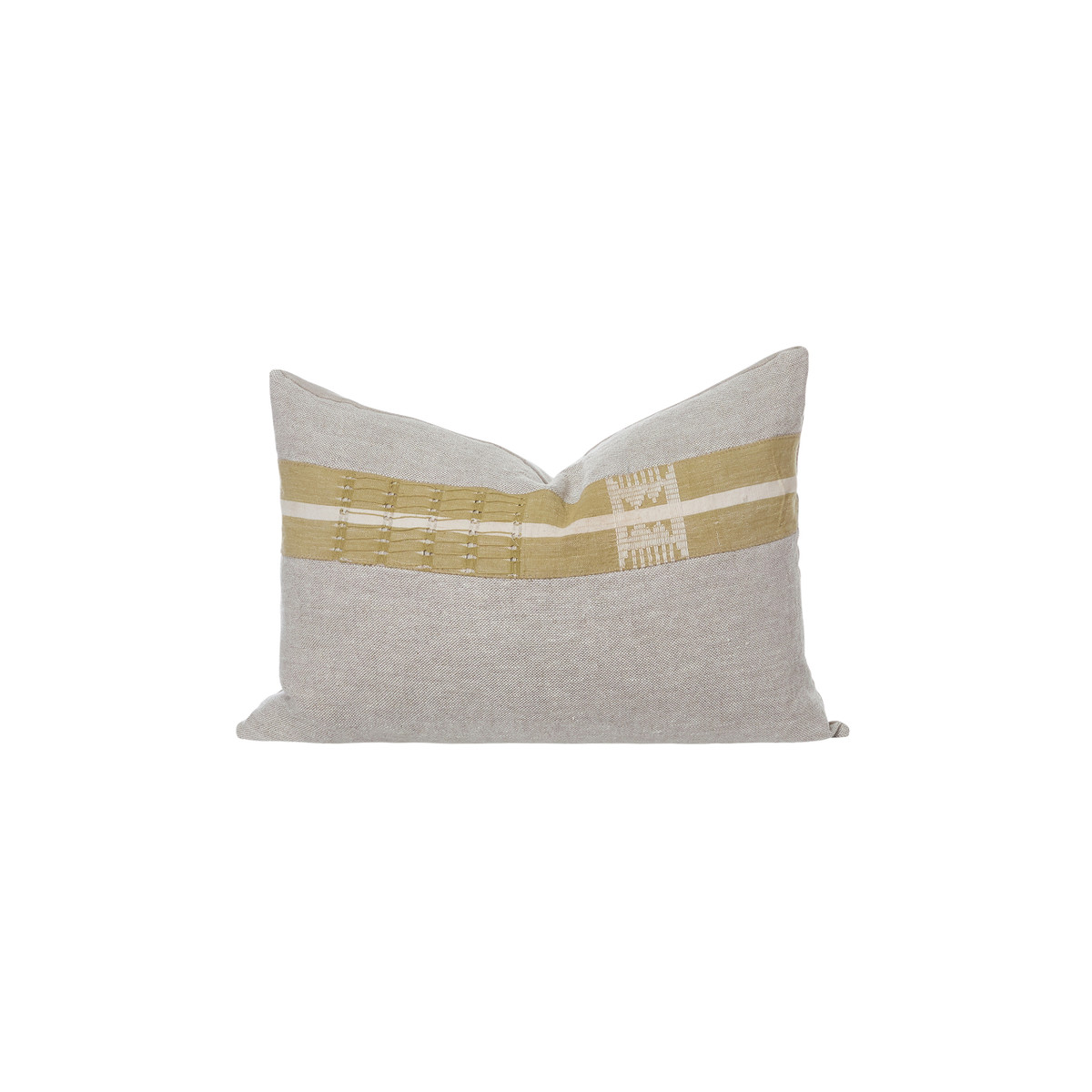 Ollie Lumbar Olive Aso Oke Eco Linen Taupe Stripe Pillow - Front