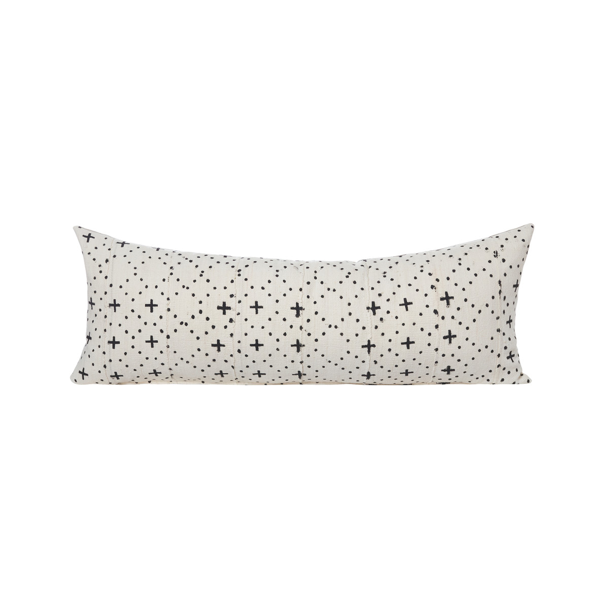 Cosmic Lumbar White and Black Mud cloth pillow - Front