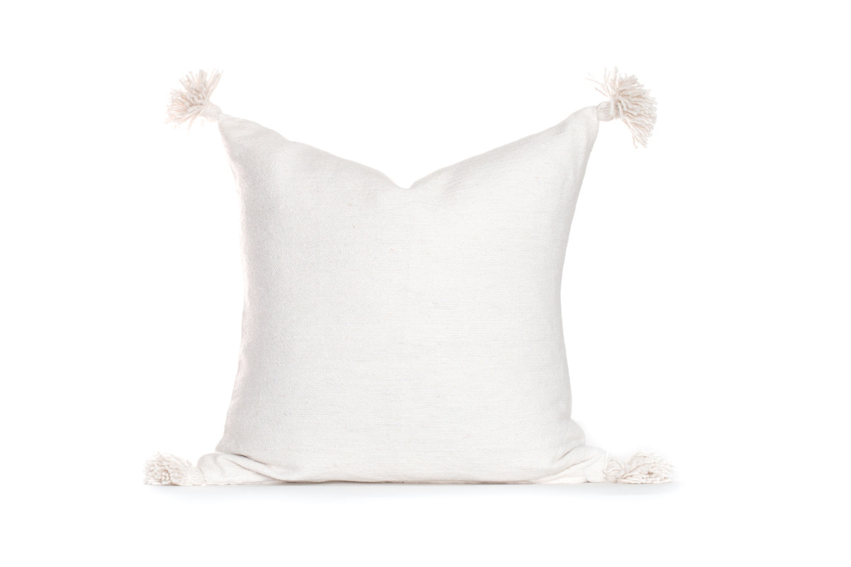 Frenchie 26 Handloom Moroccan Tassel Pillow - Ivory - Front