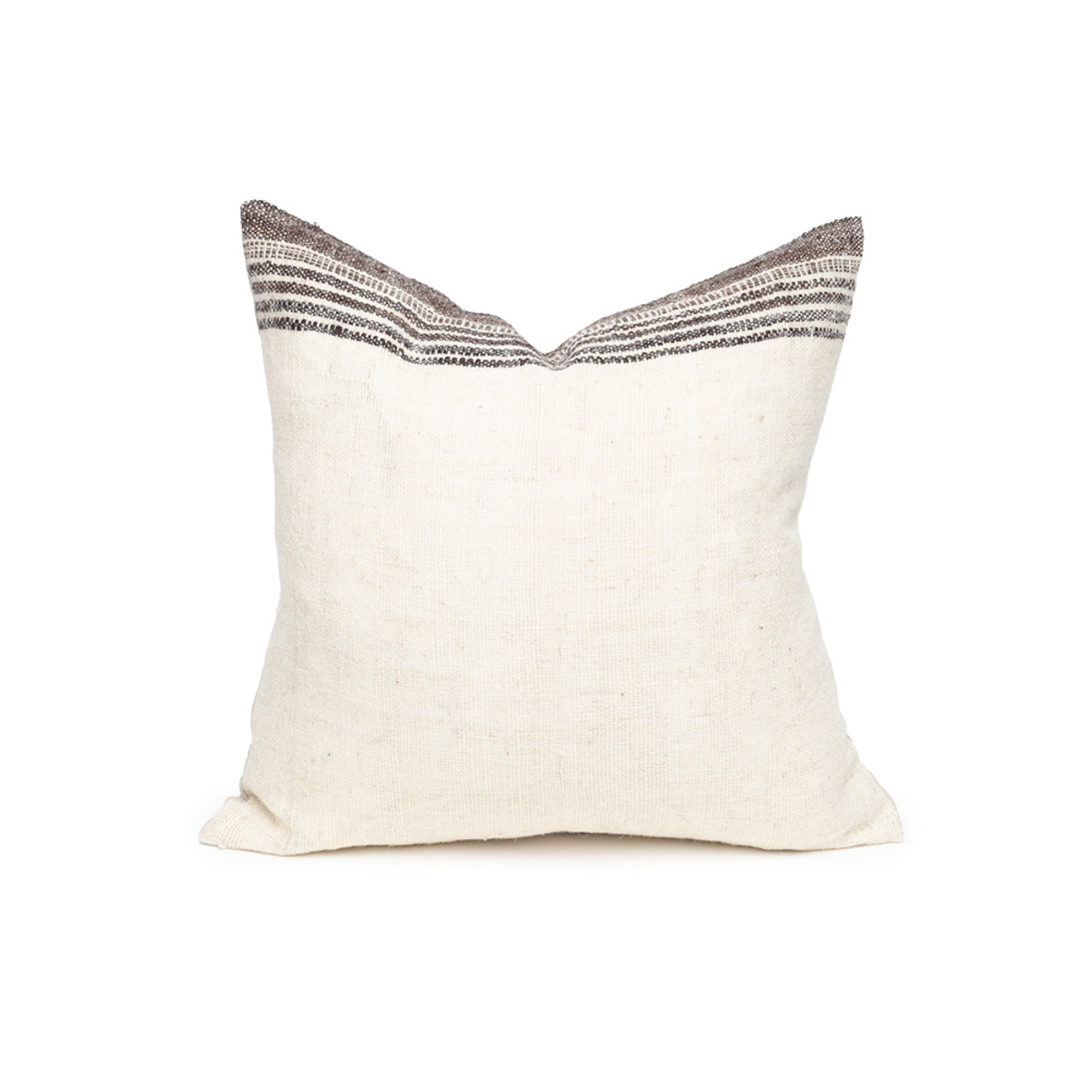 Bath Ivory and Espresso Indian Wool Stripe Pillow - Front