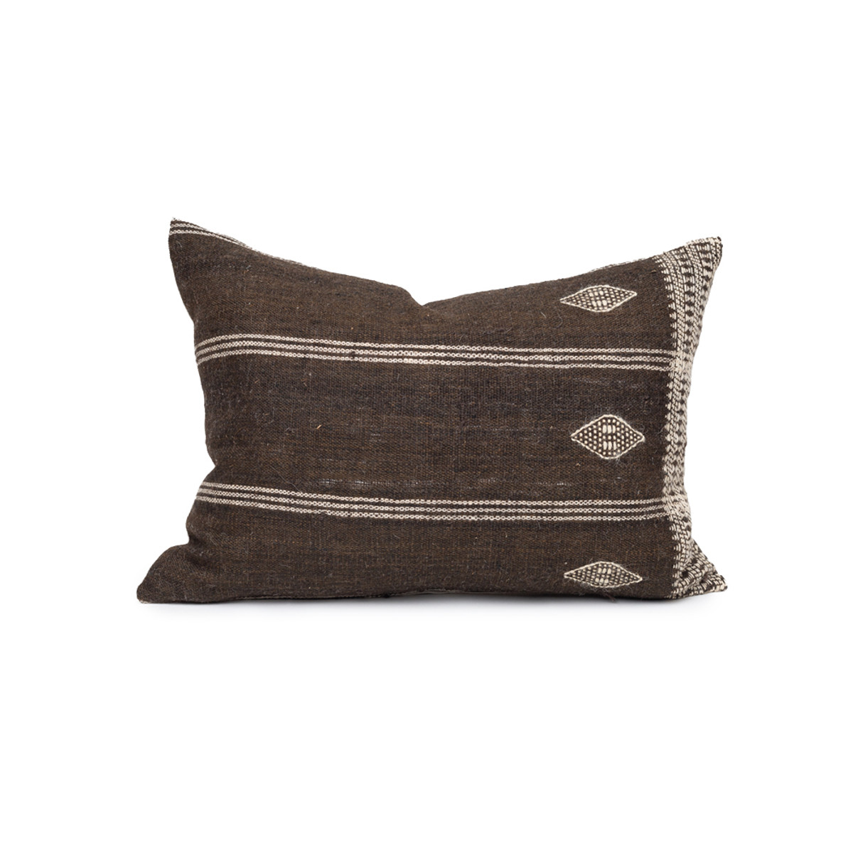 Carter Handspun Indian Wool Earth Brown and Ivory Stripe 20 inch Pillow - Front