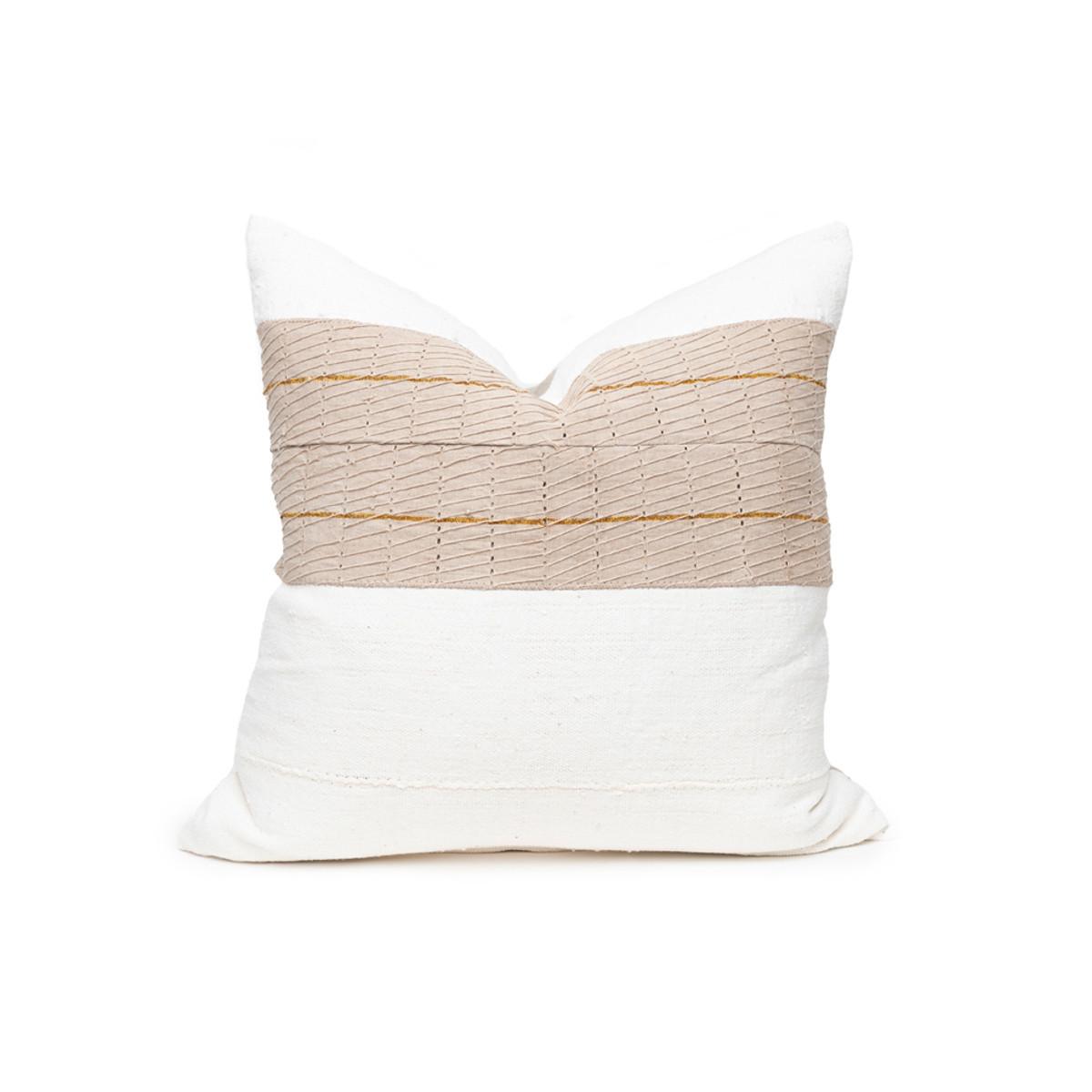 Cora Aso Oke Stripe Ivory Mud Cloth Linen Pillow - Back