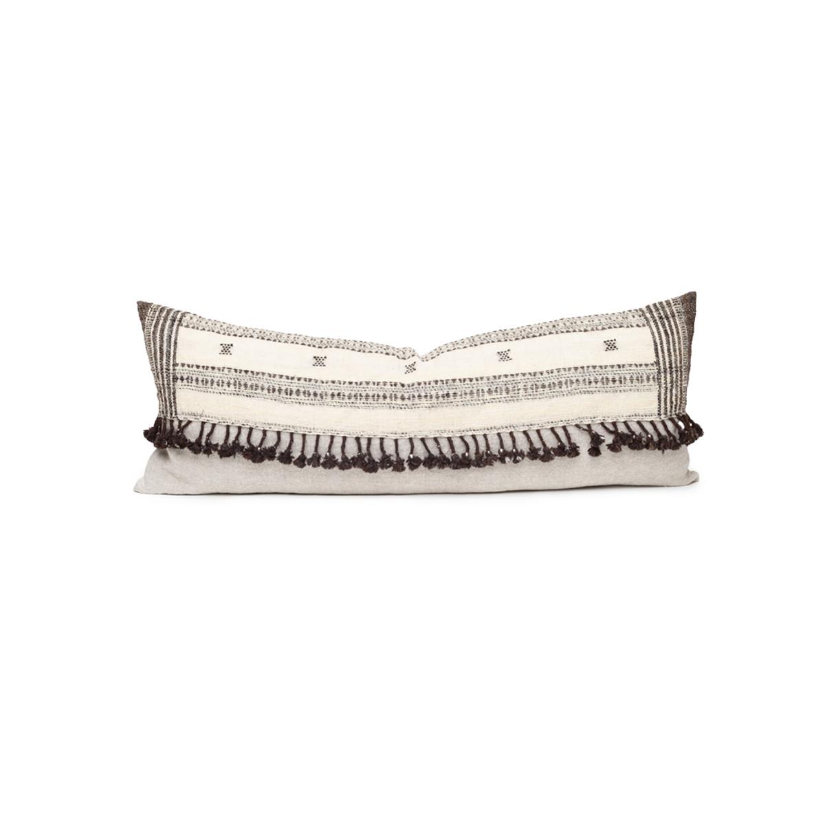 Julia Indian Ivory Wool Expresso Tassel Lumbar Pillow - Front