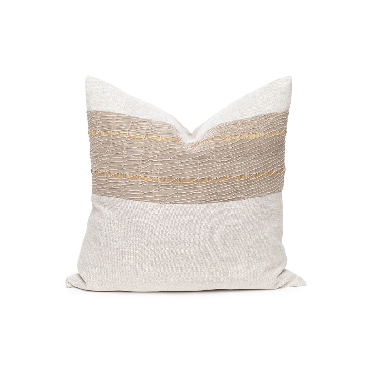 Belle Aso Oke Taupe Metallic Stripe Natural Linen Pillow - Front