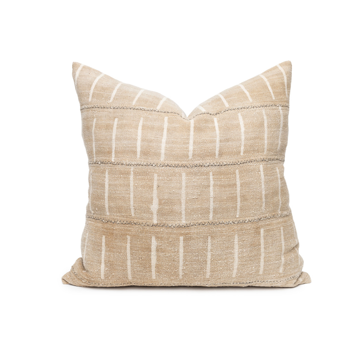Liam Mud Cloth Pillow in Taupe - Front