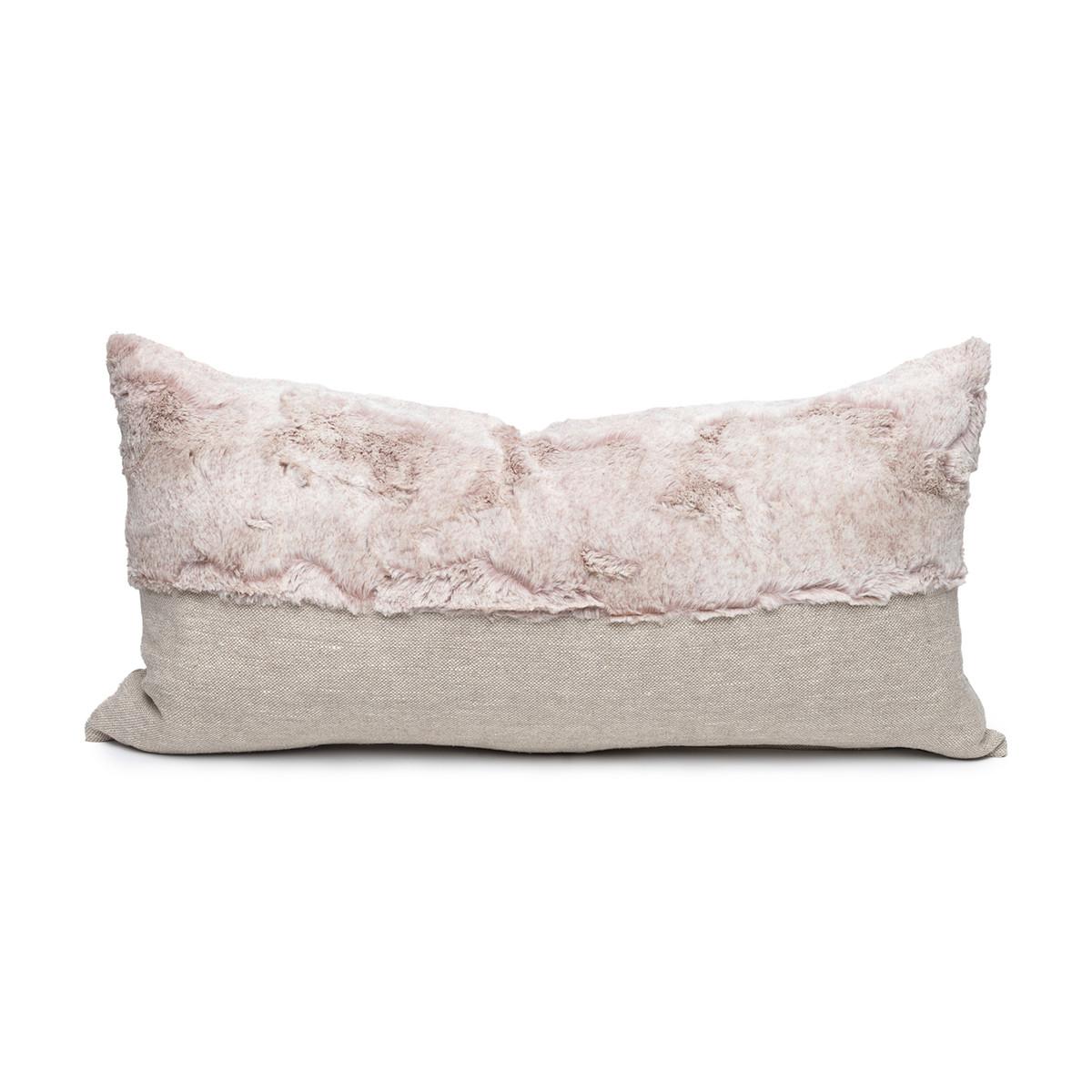 Fable Blush Vegan Faux Fur Lumbar Pillow  - Front