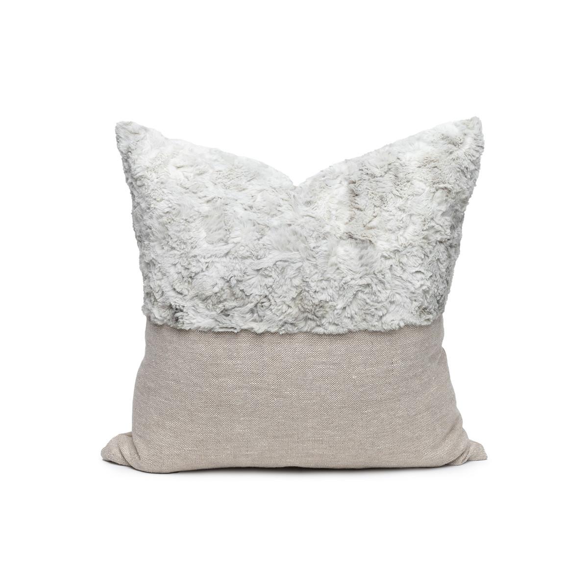 Faux Gray Cozy Granite Vegan Faux Fur Lumbar Pillow  - Front