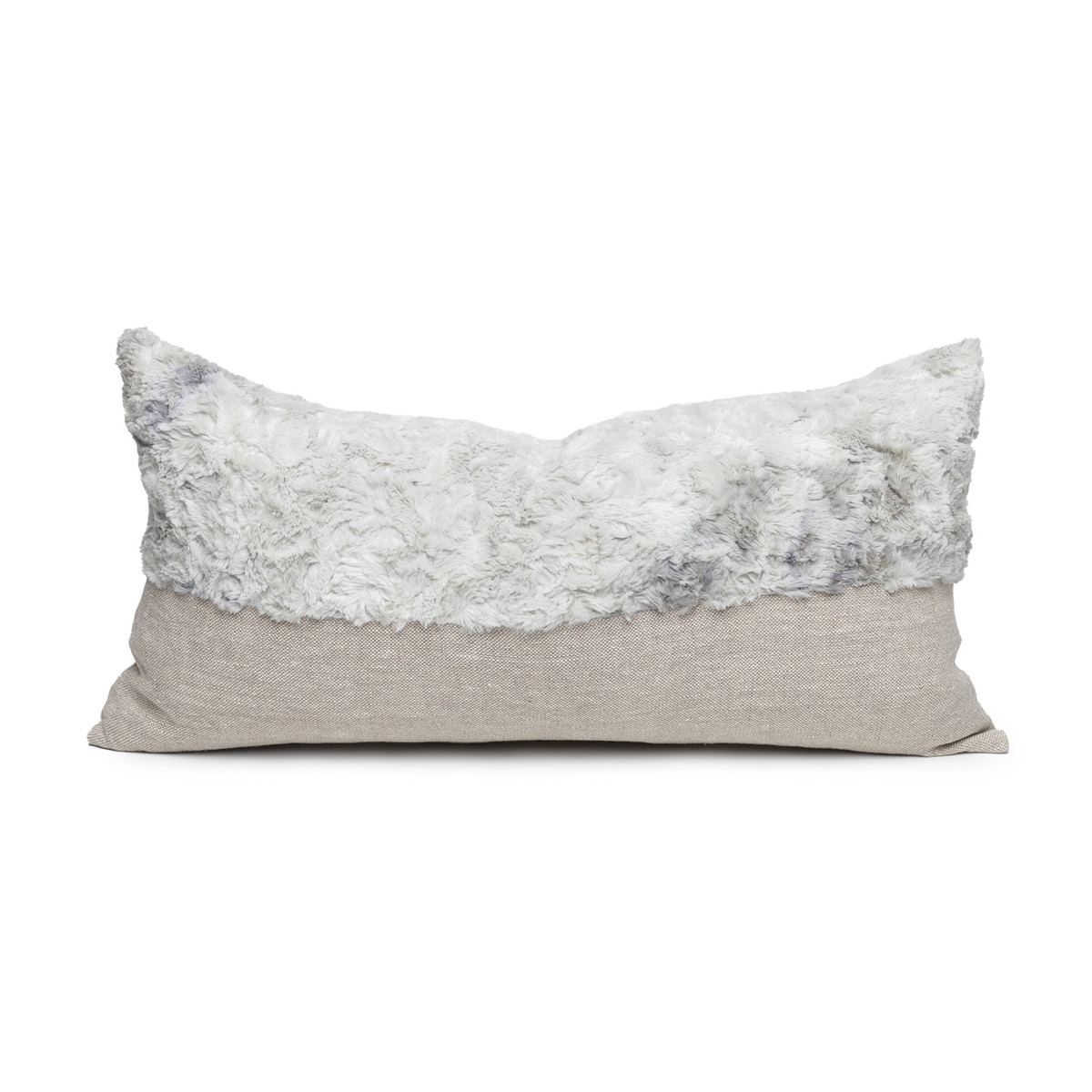 Fable Gray Vegan Faux Fur Lumbar Pillow  - Front