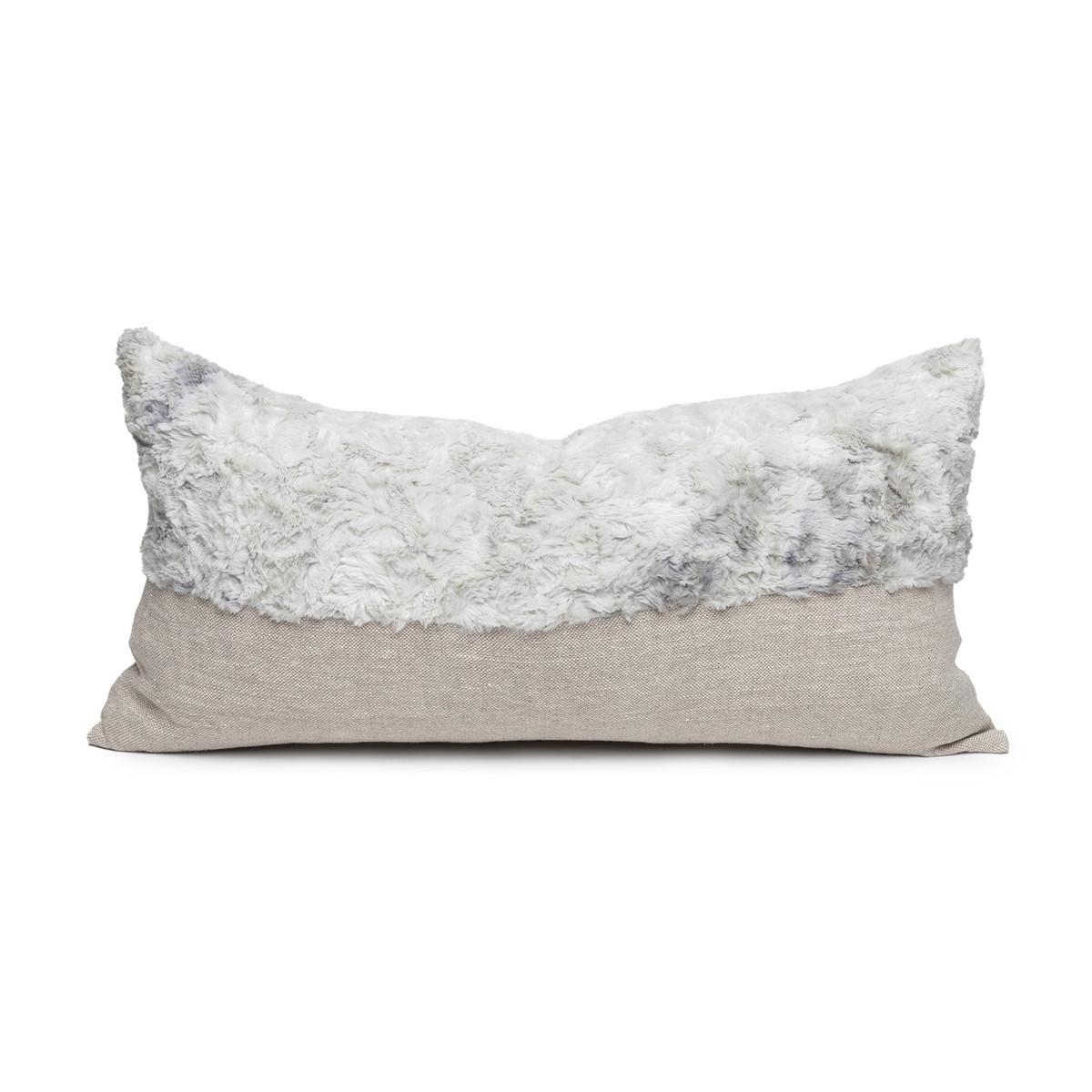 Fable Gray Vegan Faux Fur Lumbar Pillow  - Front