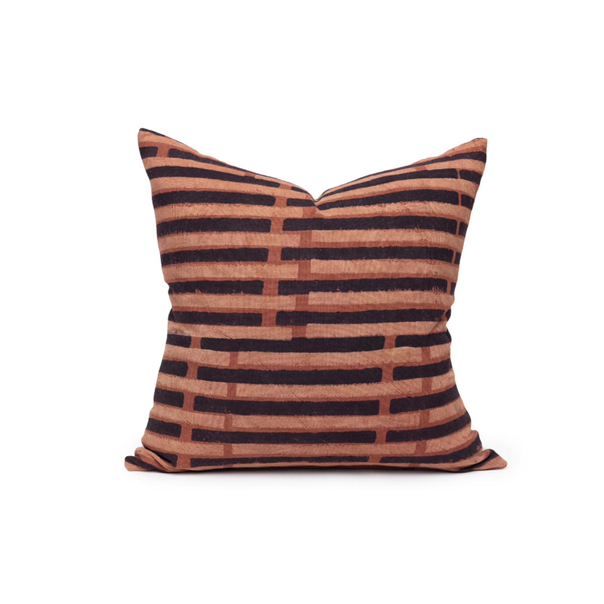 Lon Ikat Black and Rust Pillow - Front