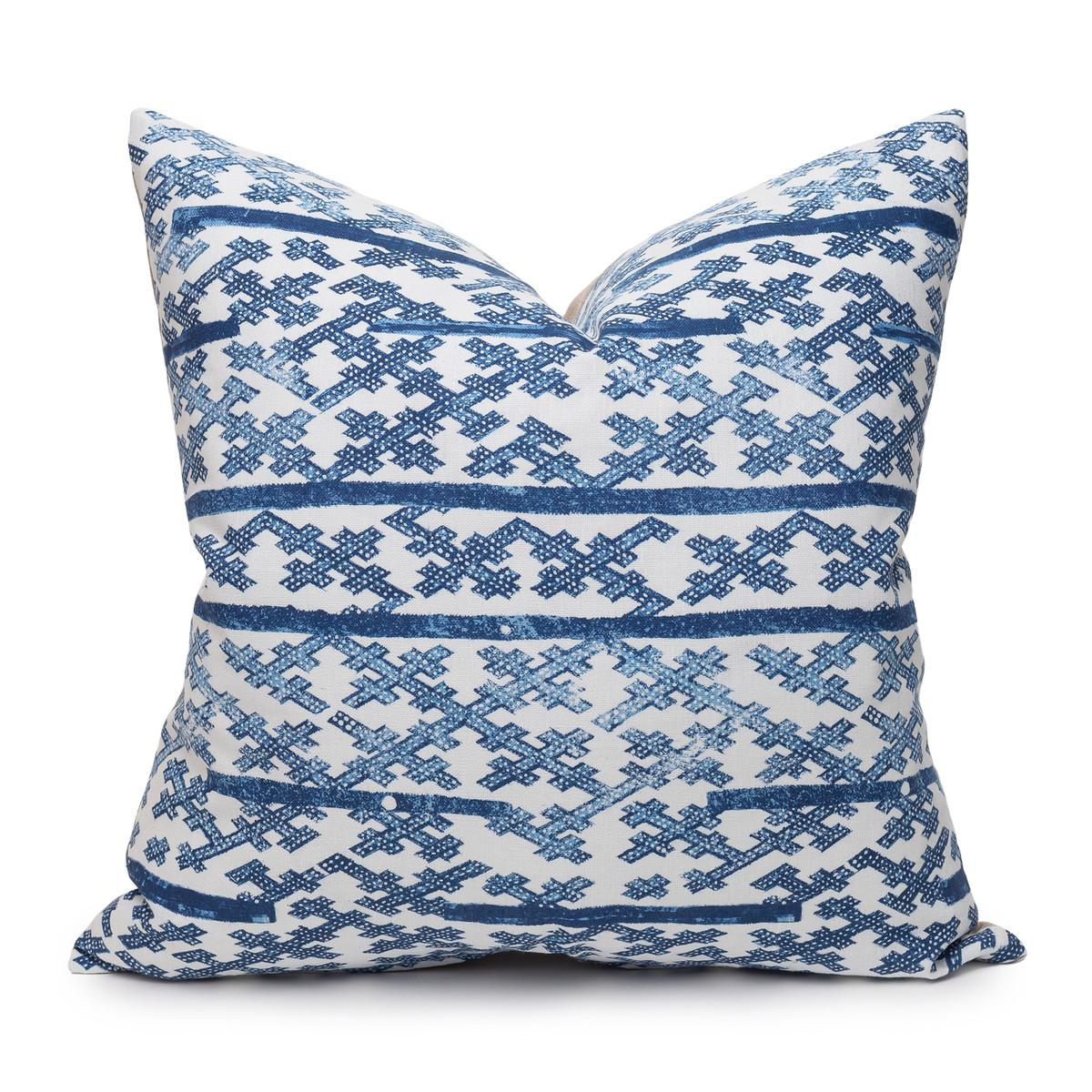 Talmage Indigo Linen Pillow - Front