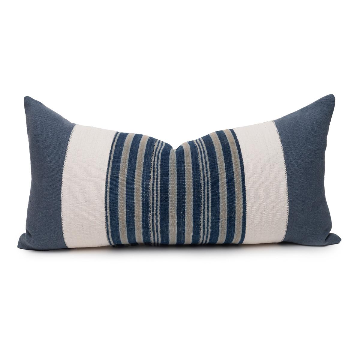 Marin Lumbar Blue Indigo Mud Cloth Pillow - 1427 - Front View