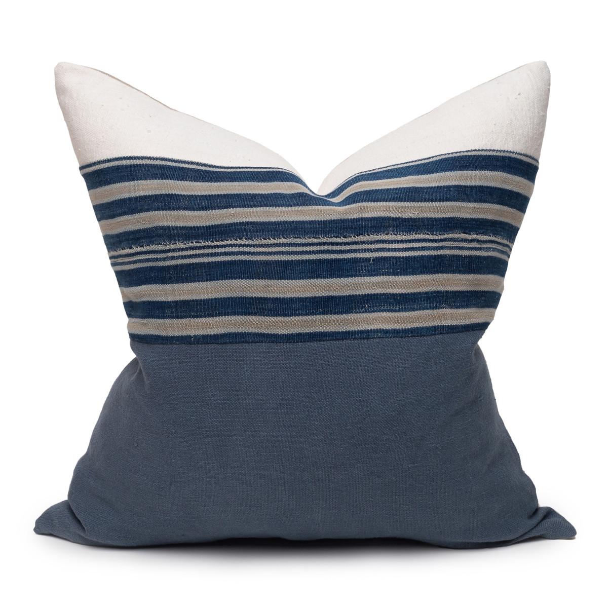 Marin Blue Indigo Mud Cloth Pillow - 22 - Front View