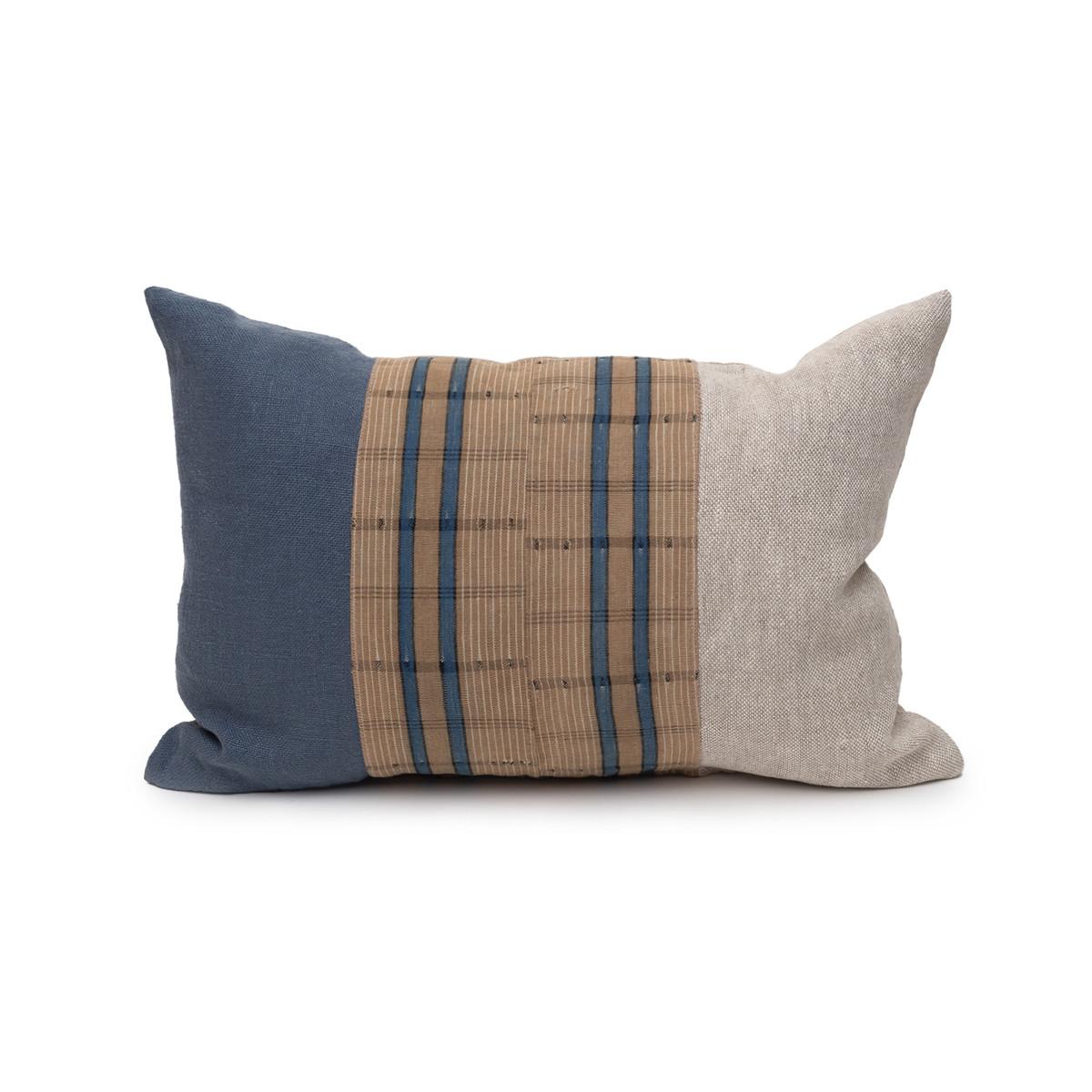 Harbor Lumbar Blue Aso Oke Indigo Linen Pillow - 1420 - Front View
