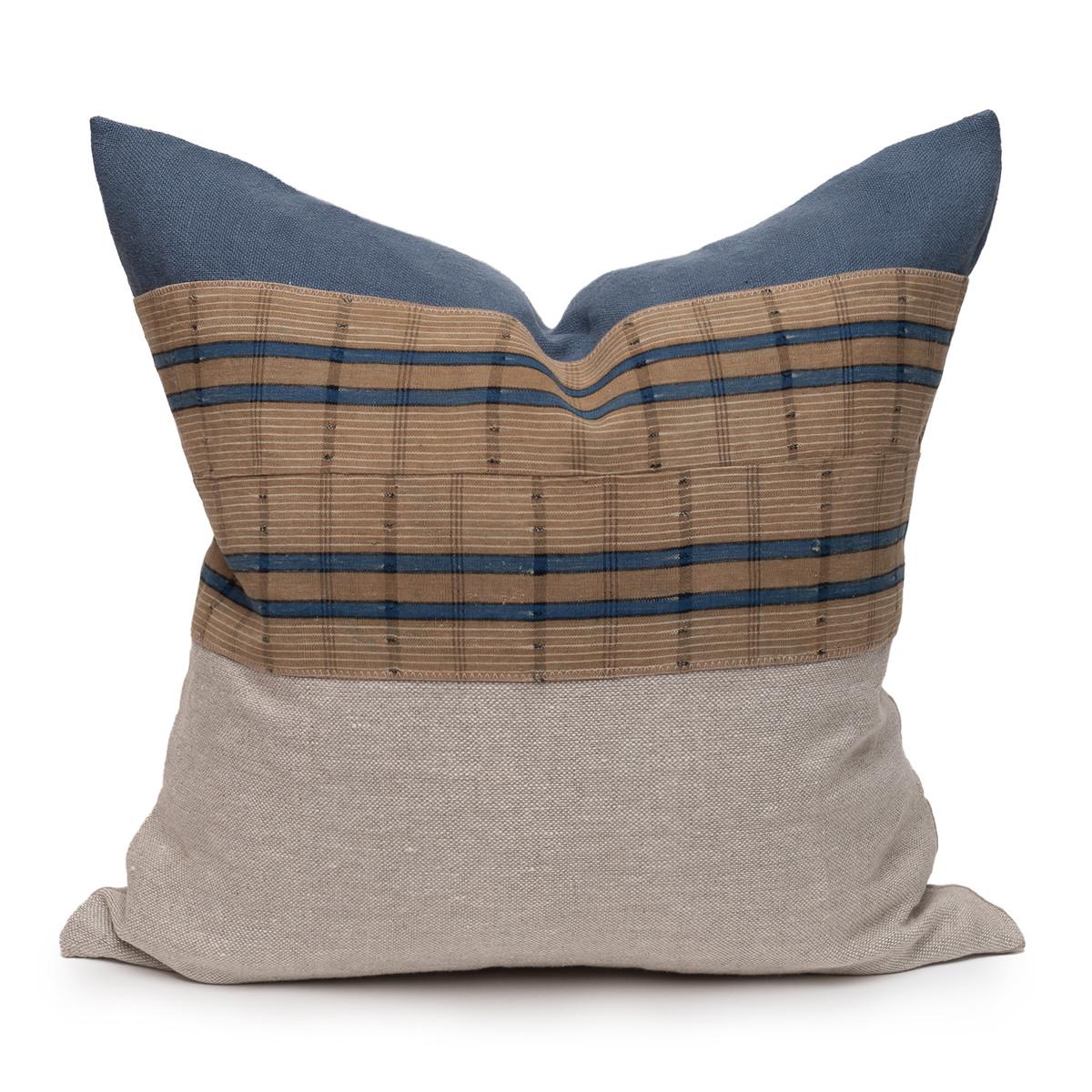 Harbor Blue Aso Oke Indigo Linen Pillow - 1420 - Front View