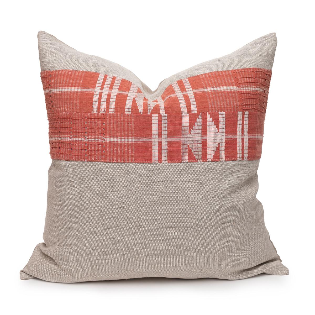Coral Seas Aso Oke Luxe Vintage Pillow - 22 - Front