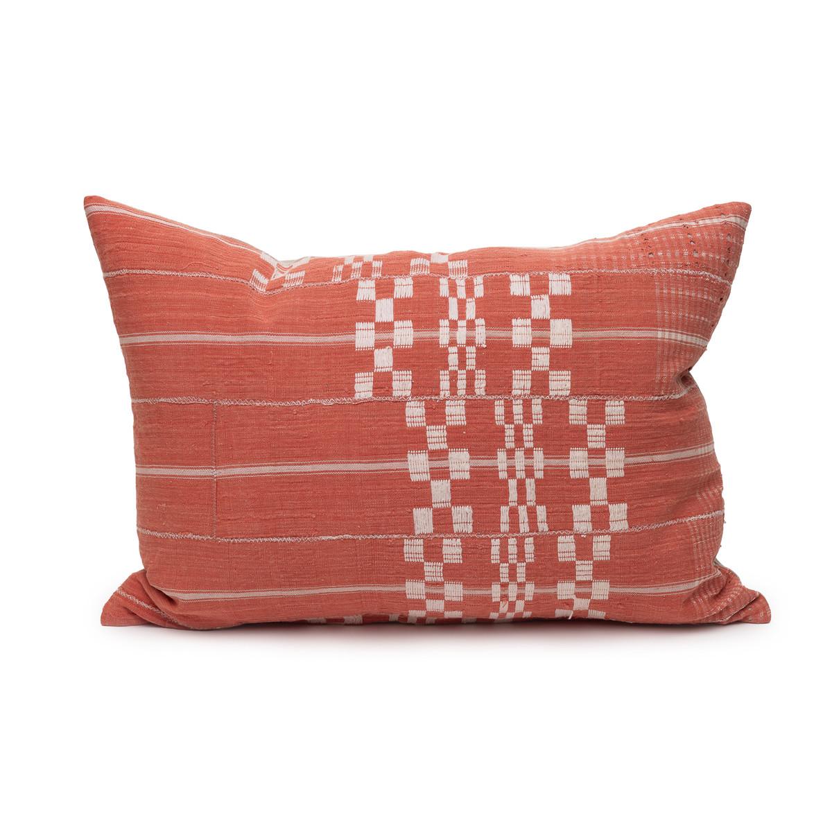 Coral Seas Aso Oke Luxe Vintage Lumbar Pillow - 16 x 22 - Front