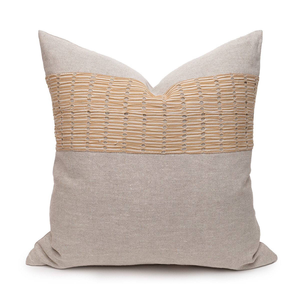 Christy Natural Linen Aso Oke Luxe Vintage Pillow - 22 - Front