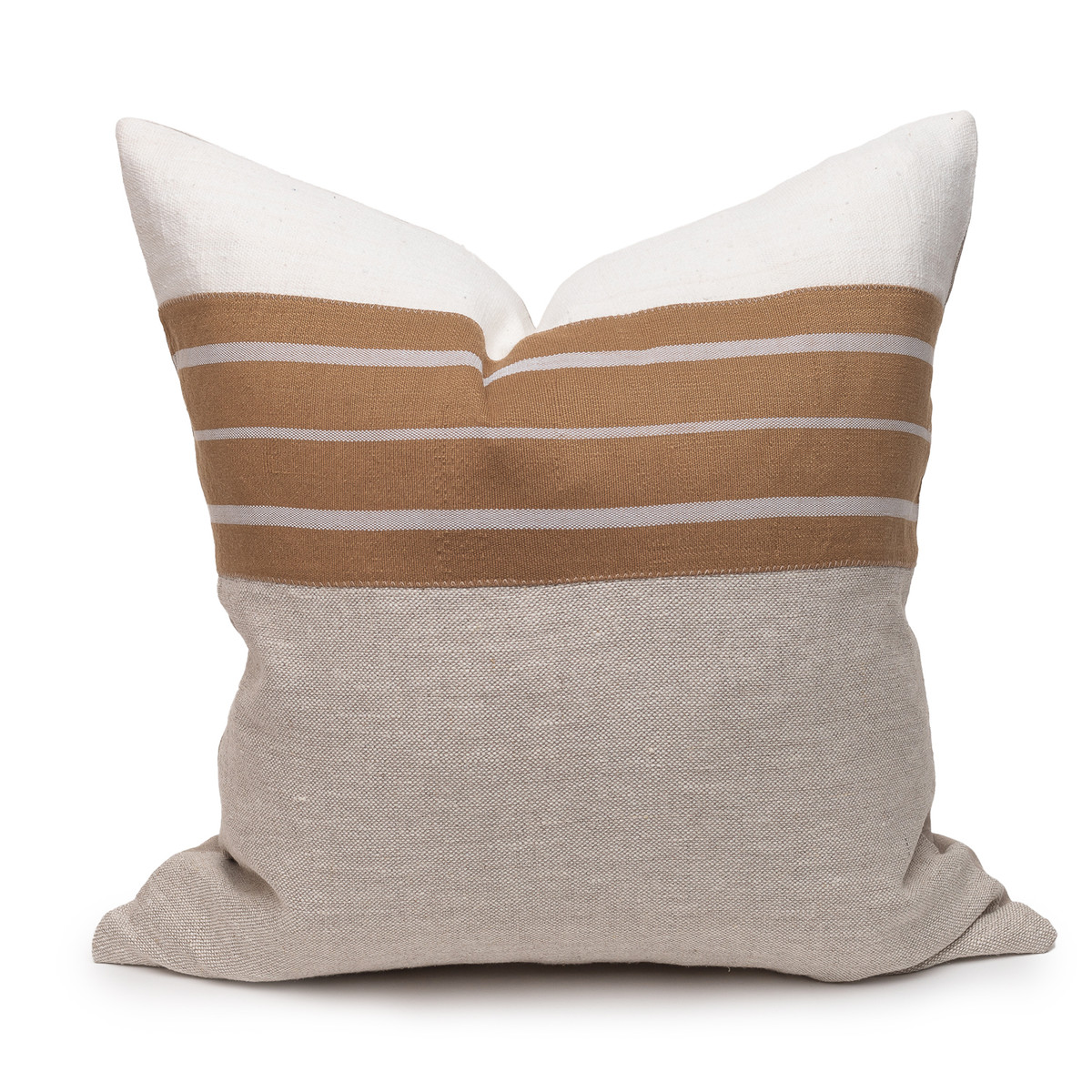 Mojave Linen Aso Oke Luxe Vintage Pillow - 22 - Front