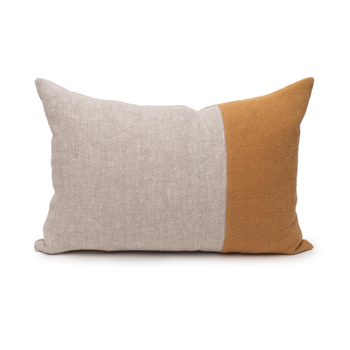 Dime Dijon Mustard and Natural Linen Lumbar Pillow - 14 x 20  -Front