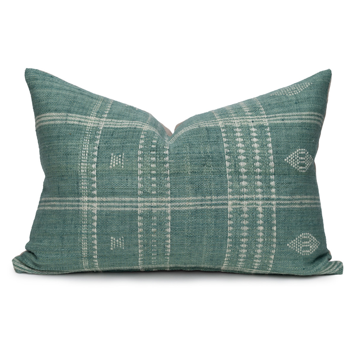 Teri Gray and Ivory Pinstripe Hand Loomed Indian Wool Pillow -16 x 22- Front