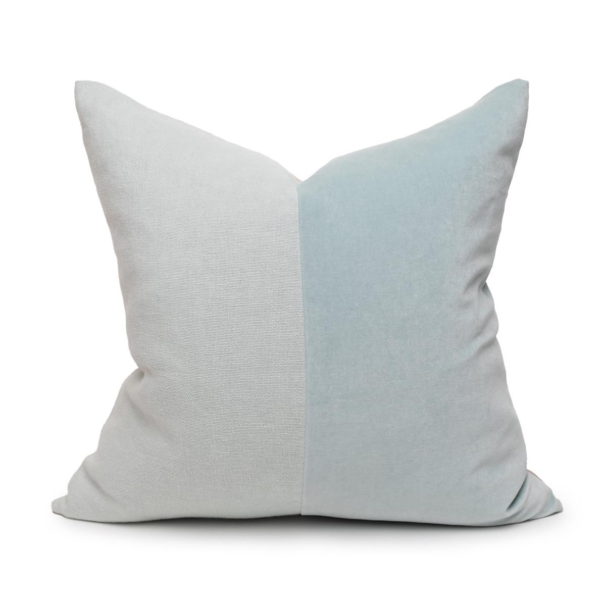 Saint Aqua Velvet Pillow - Front