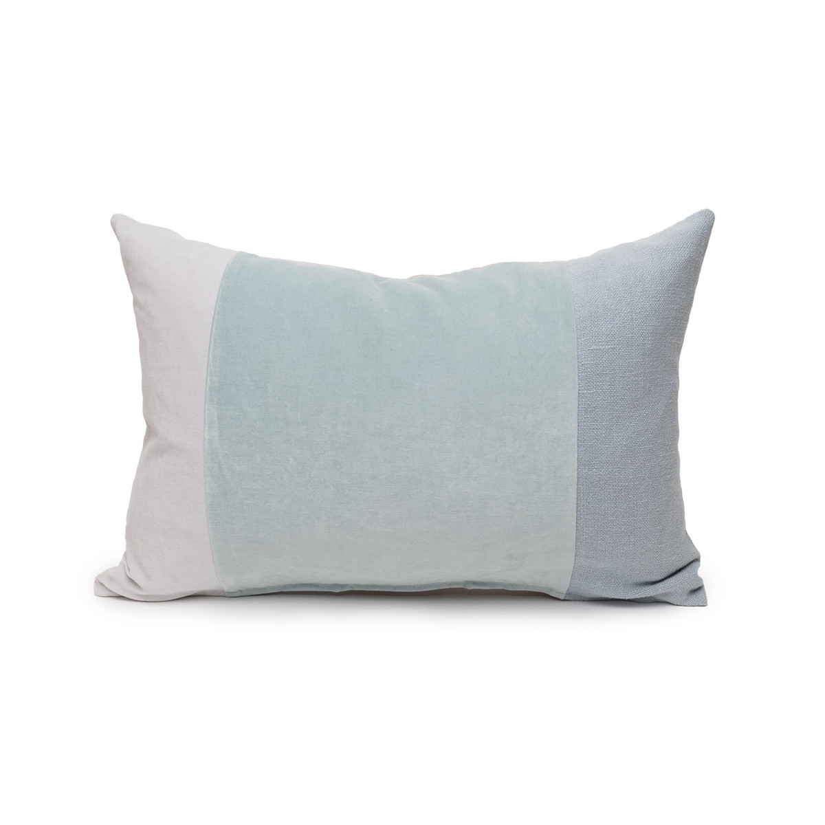 Celine Aqua Linen Velvet Lumbar Pillow - Front