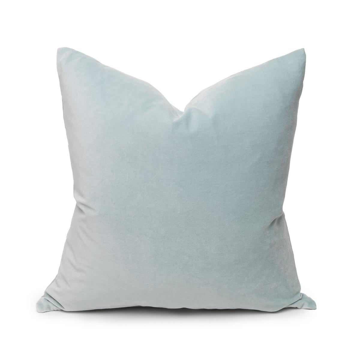 Sophie Larimar Aqua Velvet Decorative Pillow - Front