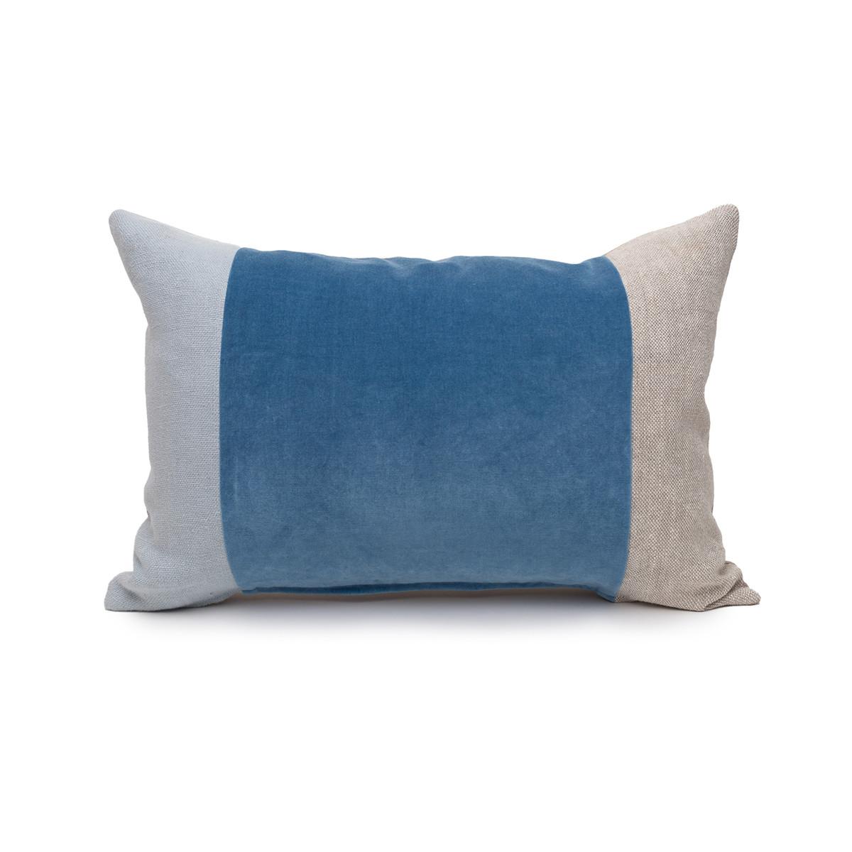 Celine Kyanite Linen Velvet Lumbar Pillow - 14 x 20 Front