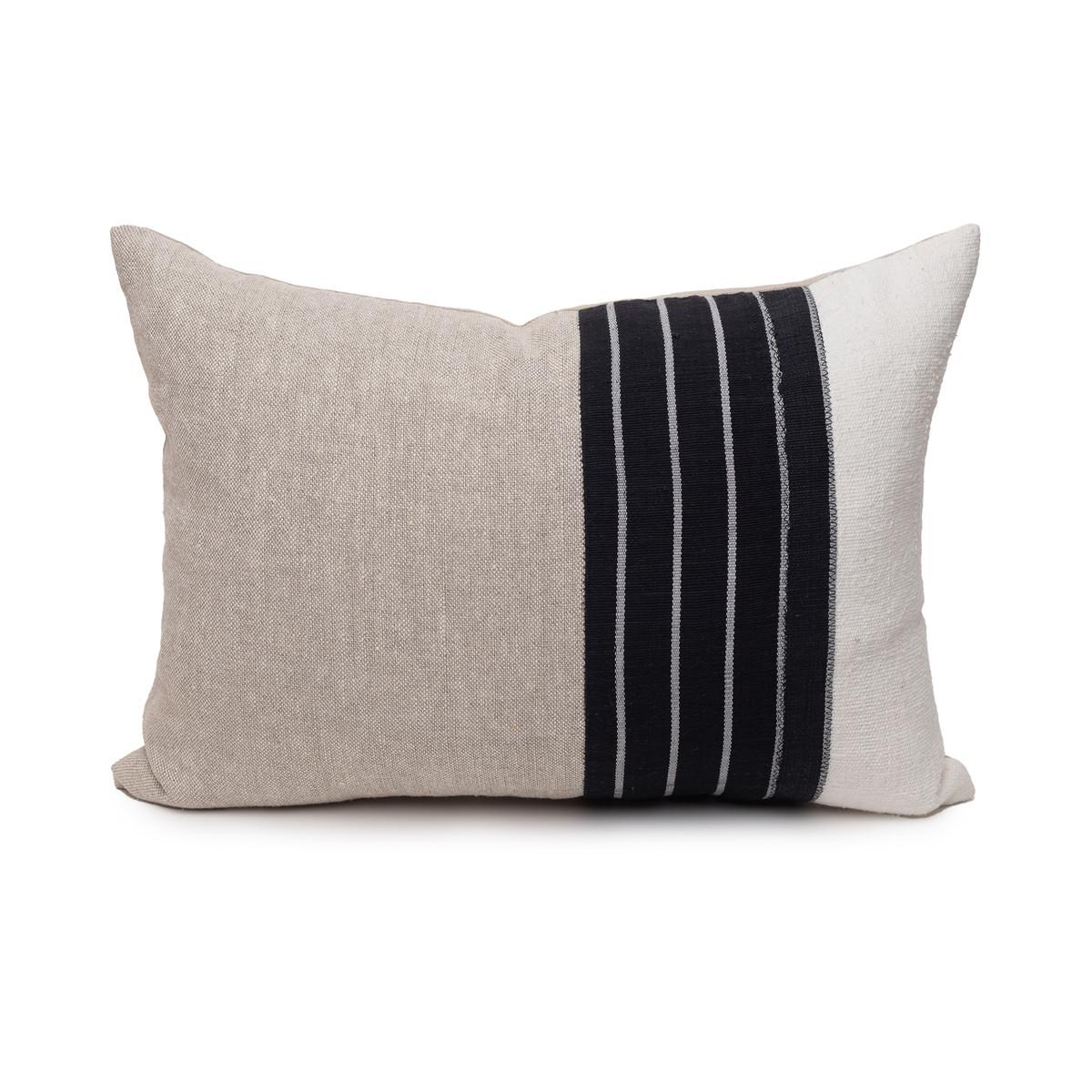 Mojave Natural Linen Noir Aso Oke Luxe Vintage Lumbar Pillow - 16 x 22 - Front