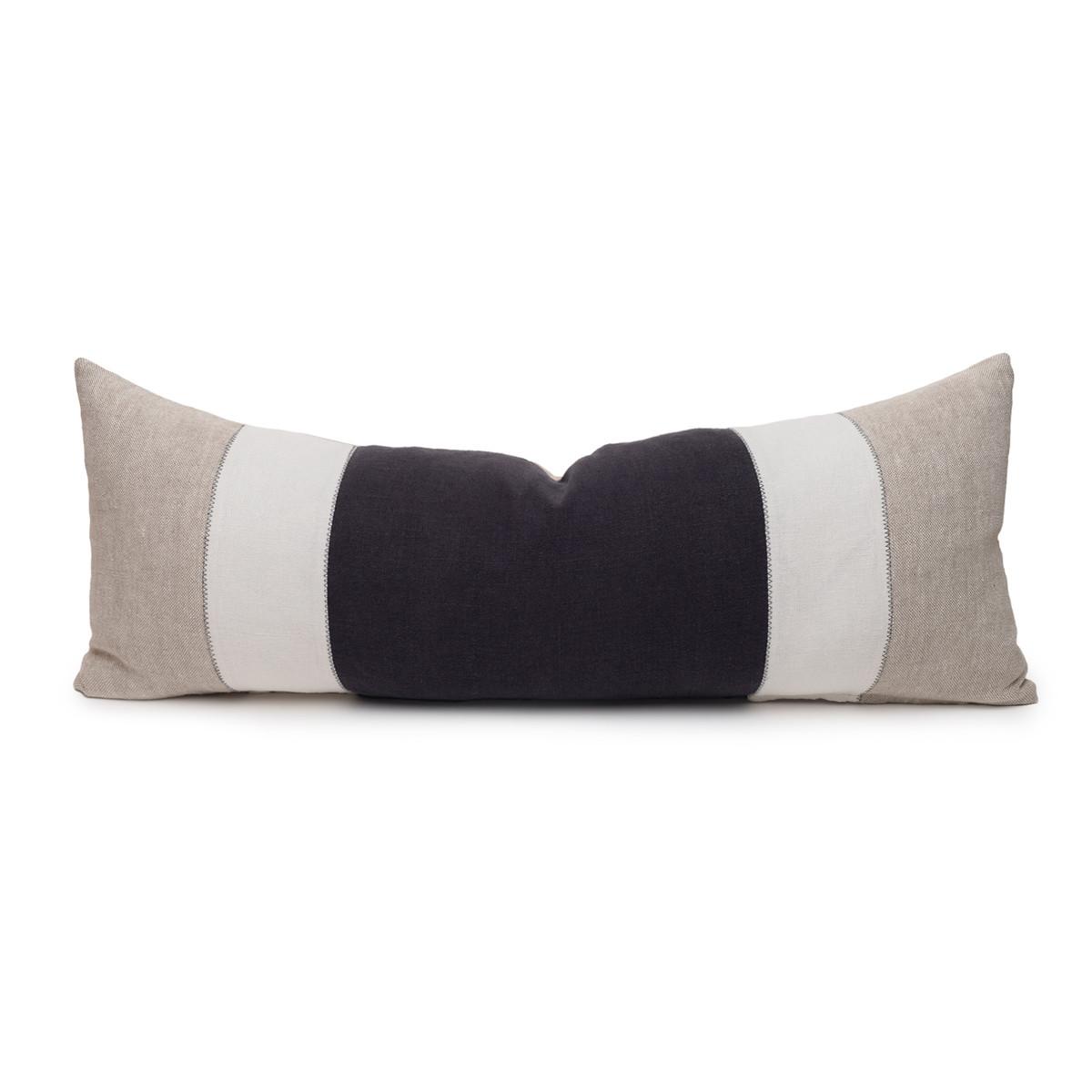 Hampton Carbon and Natural Linen Lumbar Pillow - 14 x 36  - Front