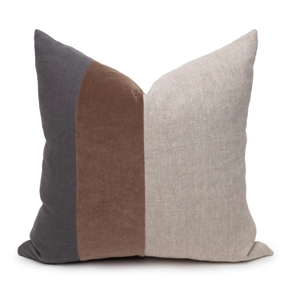 Celine Smokey Quartz Linen Velvet Pillow - Front