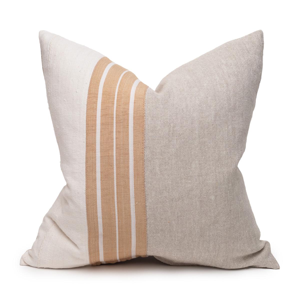 Coast Natural Linen Aso Oke Stripe Luxe Vintage Pillow - 22 - Front