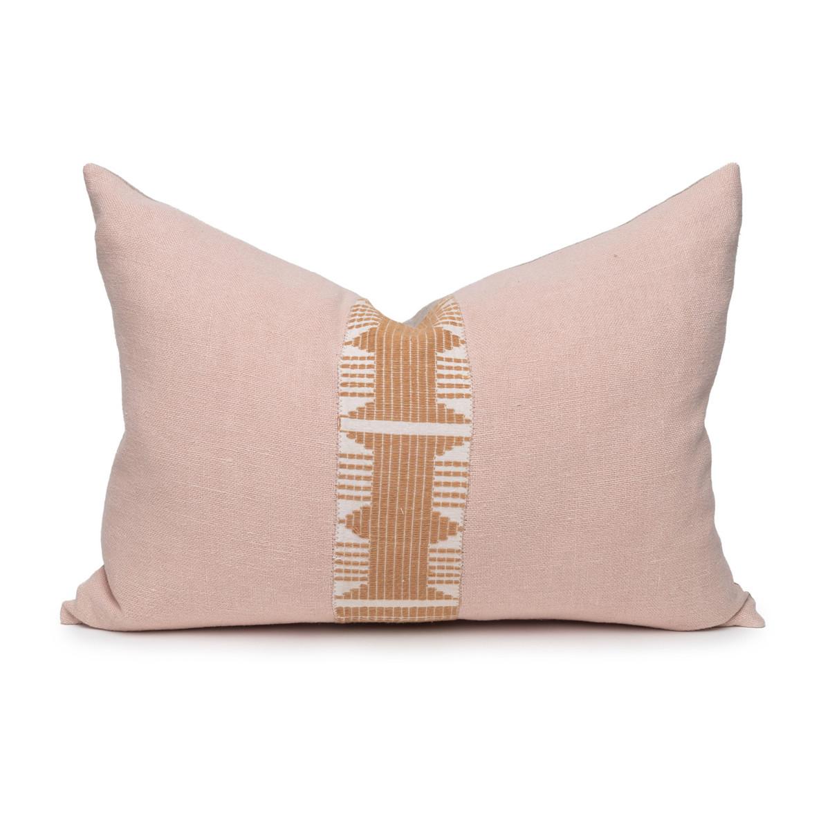 Regal Nude Linen Aso Oke Stripe Luxe Vintage Pillow - 1622 - Front