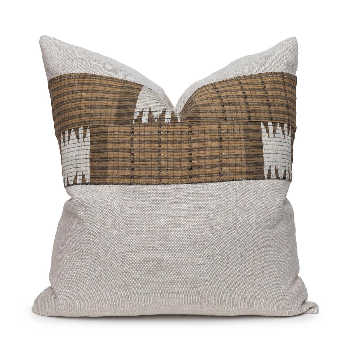 Autumn Natural Linen Aso Oke Stripe Luxe Vintage Pillow - Front