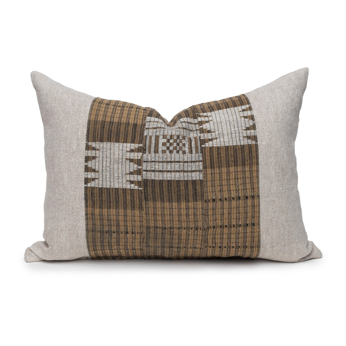 Autumn Natural Linen Aso Oke Stripe Luxe Vintage Lumbar Pillow - Front View