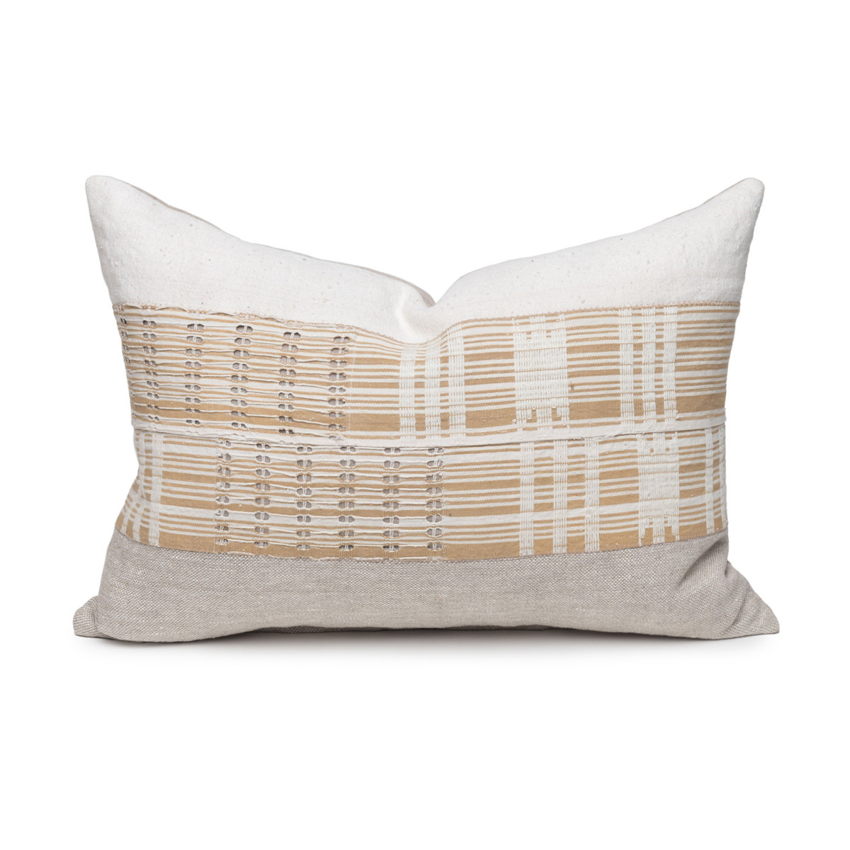 Gypsum Lumbar Pillow - Aso Oke Natural Linen Pillow with White Mud Cloth- 1622 - Front View