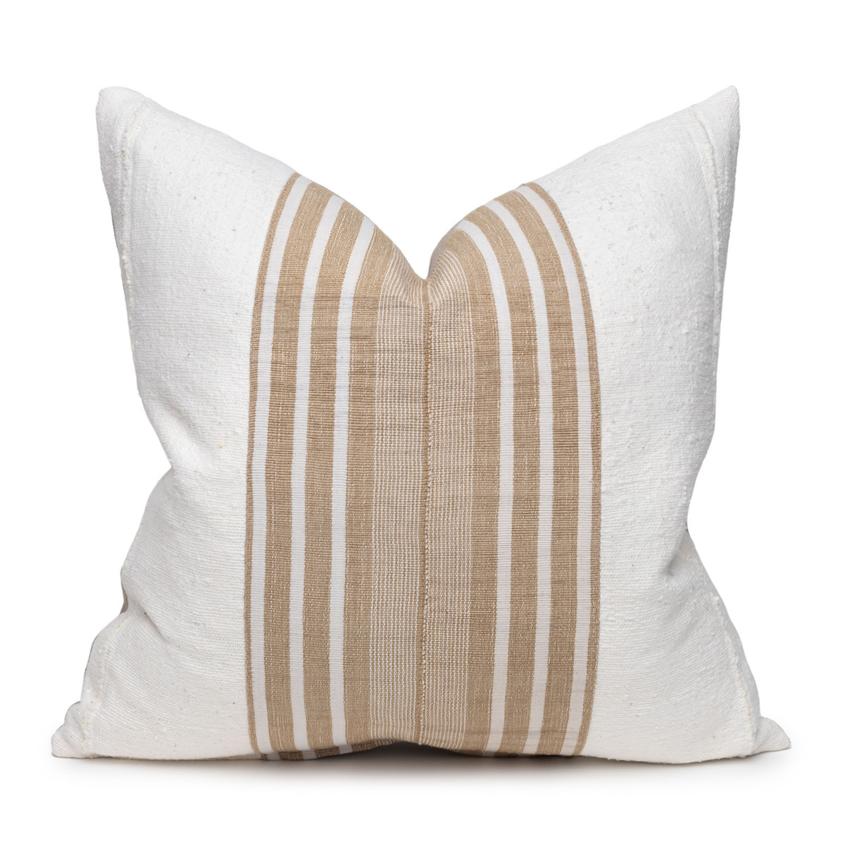 Field Pillow - Aso Oke Natural Linen Pillow with White Mud Cloth- 22 - Front View