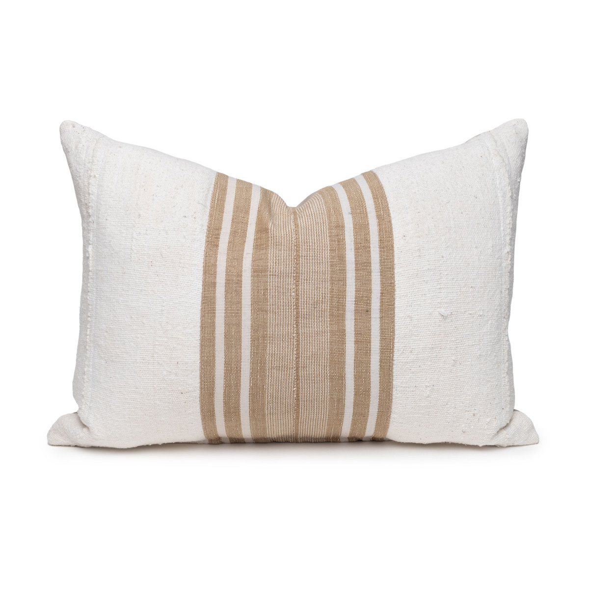 Field Lumbar Pillow - Aso Oke Natural Linen Pillow with White Mud Cloth- 1622 - Front View