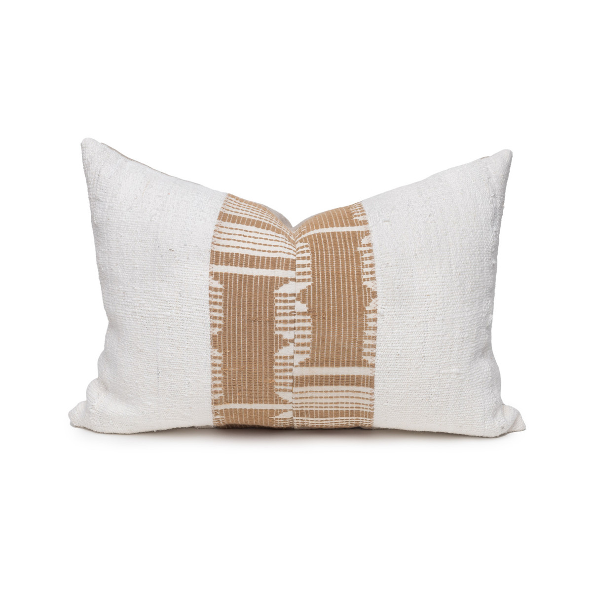 Trina Lumbar Pillow - Aso Oke Natural Linen Pillow with White Mud Cloth- 1420 - Front View