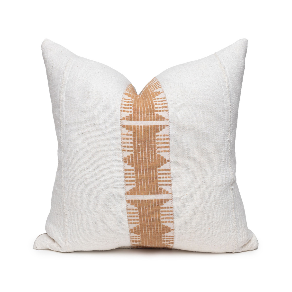 Trina Pillow - Aso Oke Natural Linen Pillow with White Mud Cloth- 20 - Front View