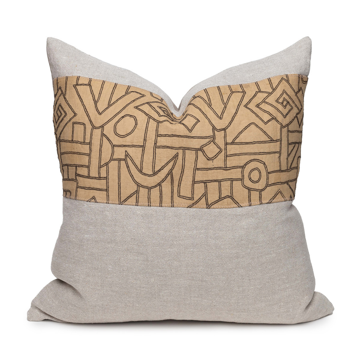 Kuba Natural Linen and Aso Oke Pillow - 22- Front View