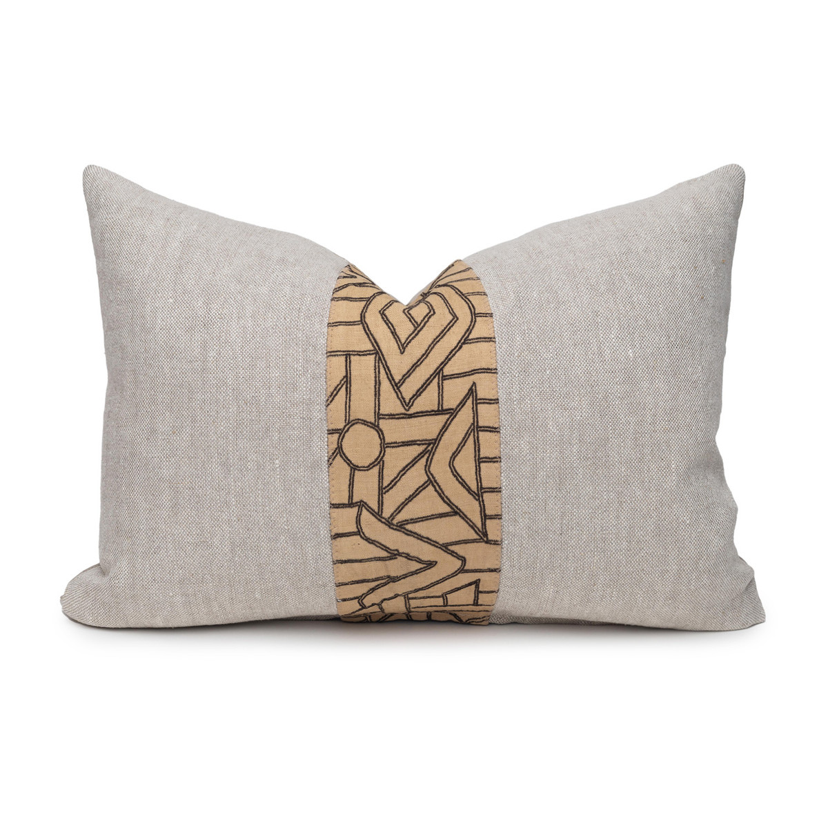 Kuba Natural Linen and Aso Oke Lumbar Pillow - 1622- Front View