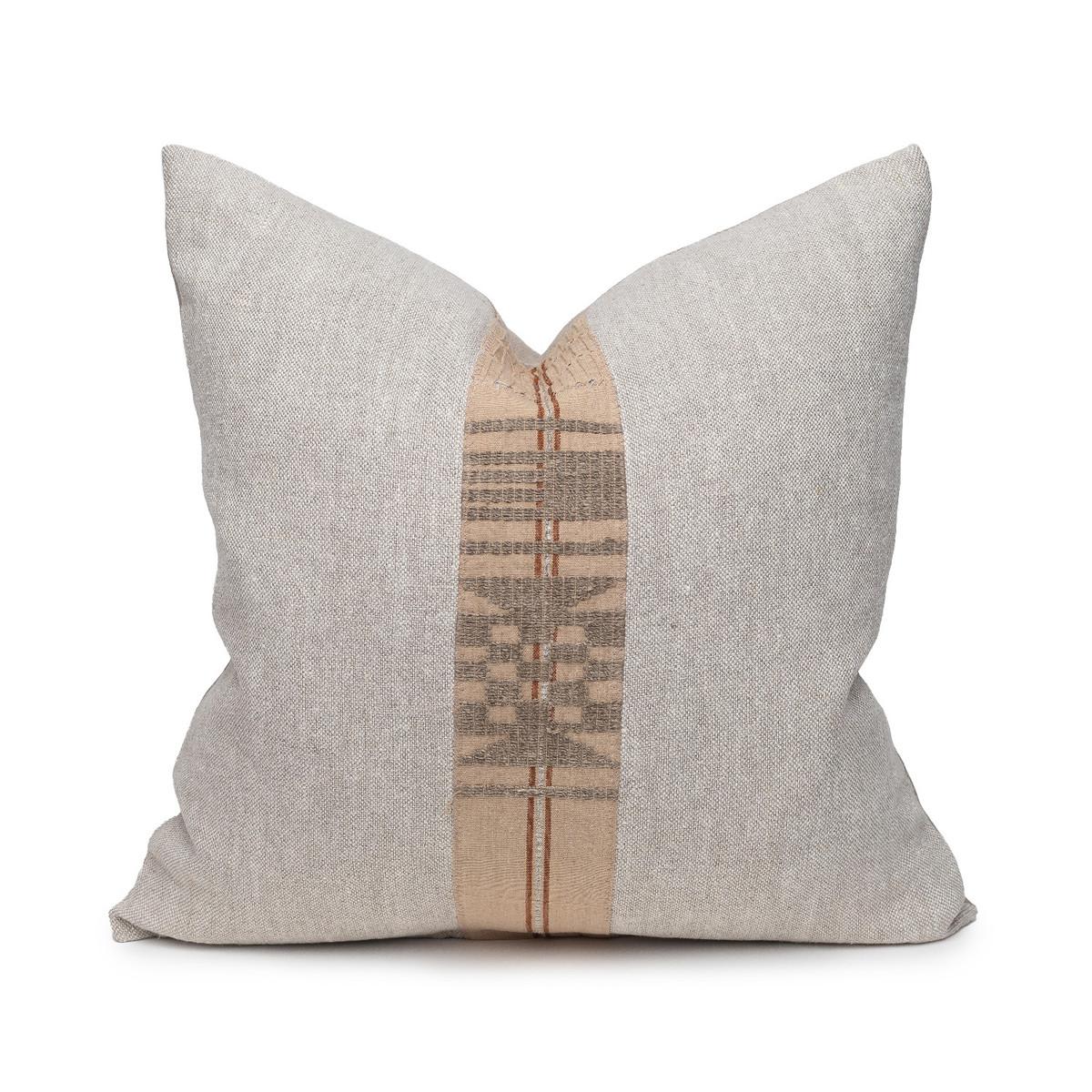 Daku Natural Linen and Aso Oke Pillow - 20- Front View