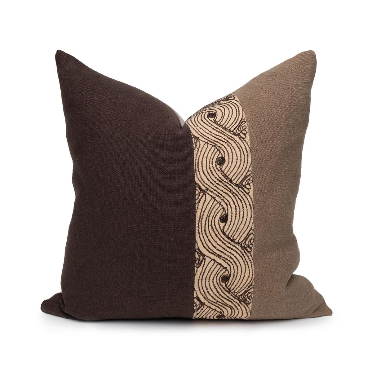 Mona Pillow Vintage Aso Oke textile in Espresso - 20- Front View